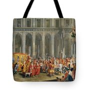 The Departure Of Alois Thomas Von Harrach, Viceroy Of Naples 1669-1742 From The Palazzo Reale Di Tote Bag