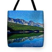 The Desiderata And Lake Sherburne Tote Bag