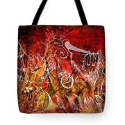 The Devil's Markings Illuminate The Fires Of Hell Tote Bag