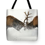 The Duel Of Fighting Elk Tote Bag