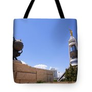 The Earthquake Memorial Statue And The Arch Of Neutrality In Ashgabat Turkmenistan Tote Bag