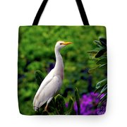 The Egret Outside My Window Tote Bag