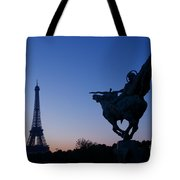 The Eiffel Tower And Joan Of Arc Statue  At Sunrise Tote Bag