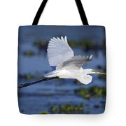 The Elegant Great Egret In Flight Tote Bag