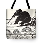 The Elephant's Child Having His Nose Pulled By The Crocodile Tote Bag by Joseph Rudyard Kipling
