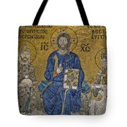 The Empress Zoe Mosaics On The Eastern Wall Of The Southern Gallery In Hagia Sophia  Tote Bag by Ayhan Altun