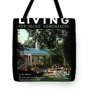 The Exterior Of A House And Patio Furniture Tote Bag by Nowell Ward