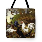 The Fable Of The Raven With A Peacock, Cockerel, Woodpecker, Jay, Woodcock, And Magpie Tote Bag