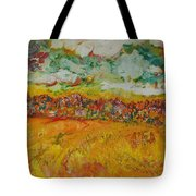 The Farmland Oil On Canvas Tote Bag