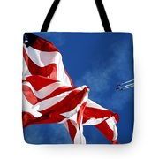 The Flag And The Blue Angels Tote Bag