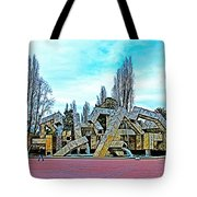 The Fountain At Justin Herman Plaza Near Embarcadero In San Francisco-california Tote Bag