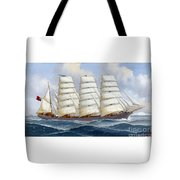 The Four-masted Barque Cedarbank At Sea Under Full Sail Tote Bag