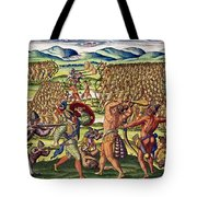 The French Help The Indians In Battle Tote Bag