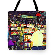 The Gambler Meets The One Armed Bandit In Casino Royale Standoff At High Noon Urban Casino Art Scene Tote Bag
