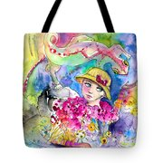 The Girl And The Lizard Tote Bag