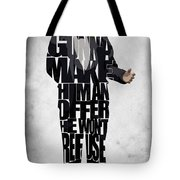The Godfather Inspired Don Vito Corleone Typography Artwork Tote Bag by Ayse Deniz