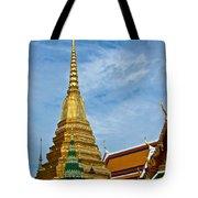 The Golden Chedis At Grand Palace Of Thailand In Bangkok Tote Bag