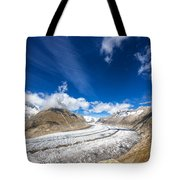 The Great Aletsch Glacier And Deep Blue Sky Tote Bag
