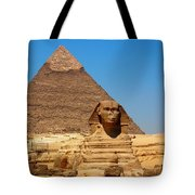 The Great Sphinx Of Giza And Pyramid Of Khafre Tote Bag