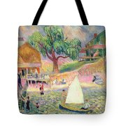 The Green Beach Cottage Tote Bag