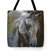 The Grey Arabian Horse Oil Painting Tote Bag