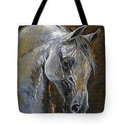 The Grey Arabian Horse Oil Painting Tote Bag