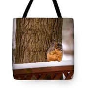 The Grey Squirrel George In Winter Tote Bag