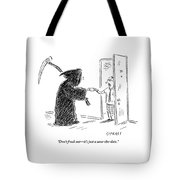 The Grim Reaper Is Seen Giving A Piece Of Paper Tote Bag by David Sipress