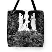 The Grotto - Calvary Scene - Pink Flower Tote Bag