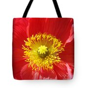 The Heart Of A Red Poppy Tote Bag