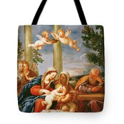 The Holy Family With St. Elizabeth And St. John The Baptist, C.1645-50 Oil On Copper Tote Bag