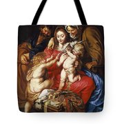 The Holy Family With St Elizabeth St John And A Dove Tote Bag