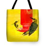 The Humming Bird And Gila Woodpecker Tote Bag