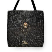 The Hunter And Its Pray - A Gold Fly Caught By A Gold Spider Tote Bag