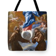 The Immaculate Conception With Saints Francis Of Assisi And Anthony Of Padua Tote Bag