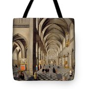 The Interior Of A Gothic Church Tote Bag by Hendrik the Younger Steenwyck