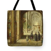 The Interior Of A Gothic Church Looking East Tote Bag