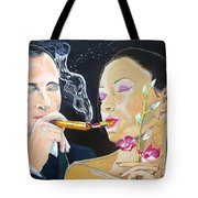 The Kiss Edge Listen With Music Of The Description Box Tote Bag by Lazaro Hurtado
