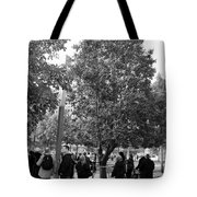 The Last Living Thing Pulled From The Rubble... The Survivor Tree In Black And White Tote Bag