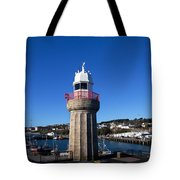 The Lighthouse And Fishing Harbour Tote Bag