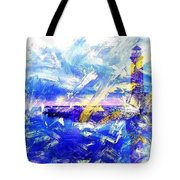 The Lighthouse Through Turbulent Waters Tote Bag