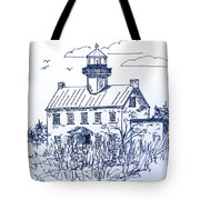The Lines Of East Point Light In Blue Tote Bag