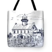 The Lines Of East Point Lighthouse In Blue 2 Tote Bag