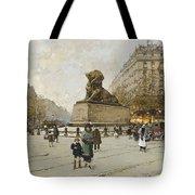 The Lion Of Belfort Le Lion De Belfort Tote Bag by Eugene Galien-Laloue