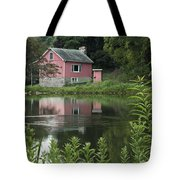 The Little Pink Cabin With Ripples Tote Bag