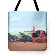 The Liverpool And London Royal Mail Coach, 1812 Oil On Canvas Tote Bag