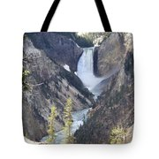 The Lower Falls Of Yellowstone River Tote Bag