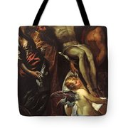 The Lowering Of The Cross With Sts Mary Magdalene Augustine Jerome And Angels Tote Bag
