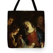 The Madonna Adoring The Infant Christ Tote Bag