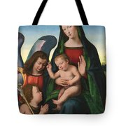 The Madonna And Child With The Young Saint John The Baptist And An Angel  Tote Bag